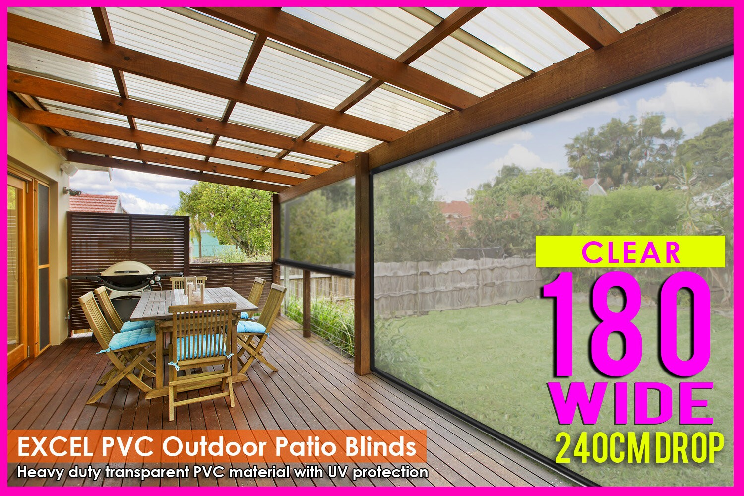 Outdoor patio blinds - 180cm X 240cm Heavy Duty Pvc Clear Patio Cafe Blinds Outdoor Uv