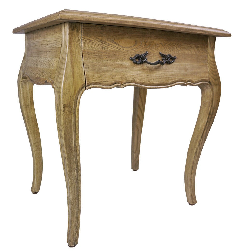 French Provincial Bedside Table With One Drawer Natural