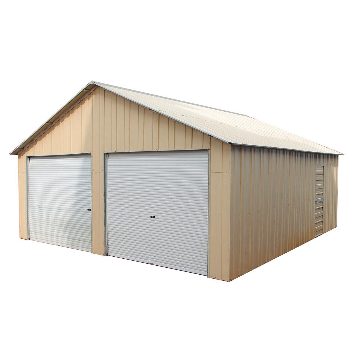 Double Garage 66m X 72m X 37m Widespan Roller Door Workshop Cream