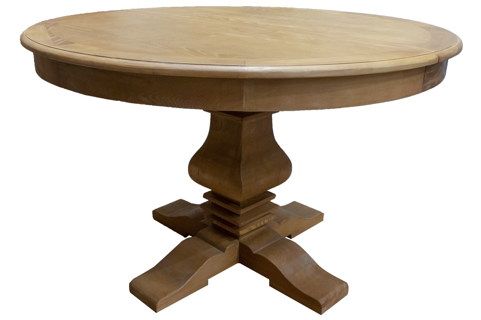 French Provincial Classic Elm Extendable Round Pedestal Dining Table Wholesales Direct