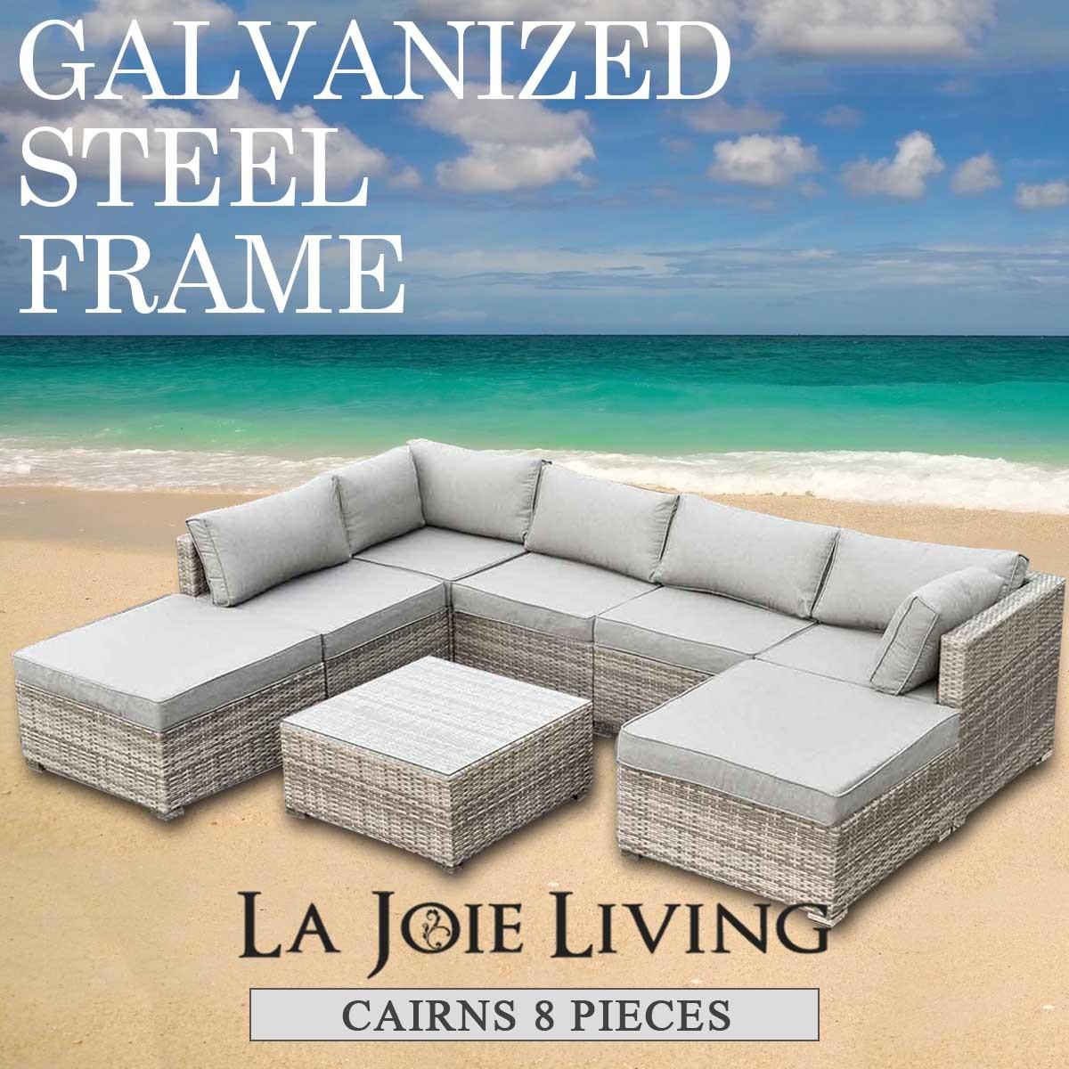Cairns 7 Seater Outdoor Sofa Modular 8 Piece Set Rattan Furniture Lounge  Light Ash Brown