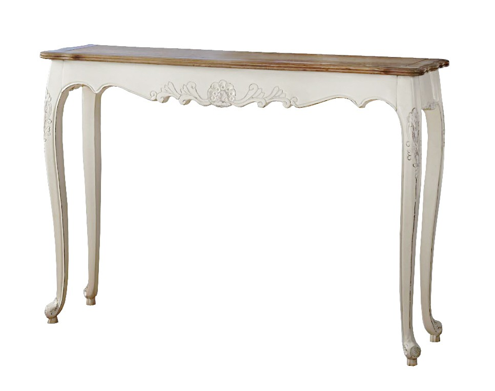 French provincial console hall table in white for Table in french