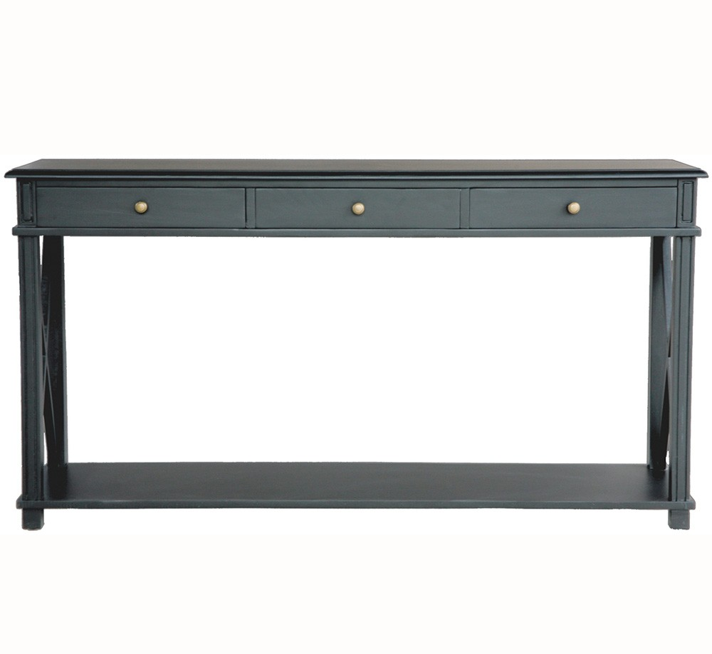 Superbe Hamptons Halifax Side Cross 3 Drawers Console Hall Table Furniture In Black