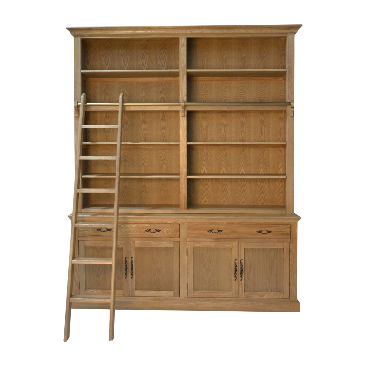 Excellent French Provincial Hamptons Natural Oak Open Double Buffet And Hutch Bookcase With Ladder Home Interior And Landscaping Ologienasavecom