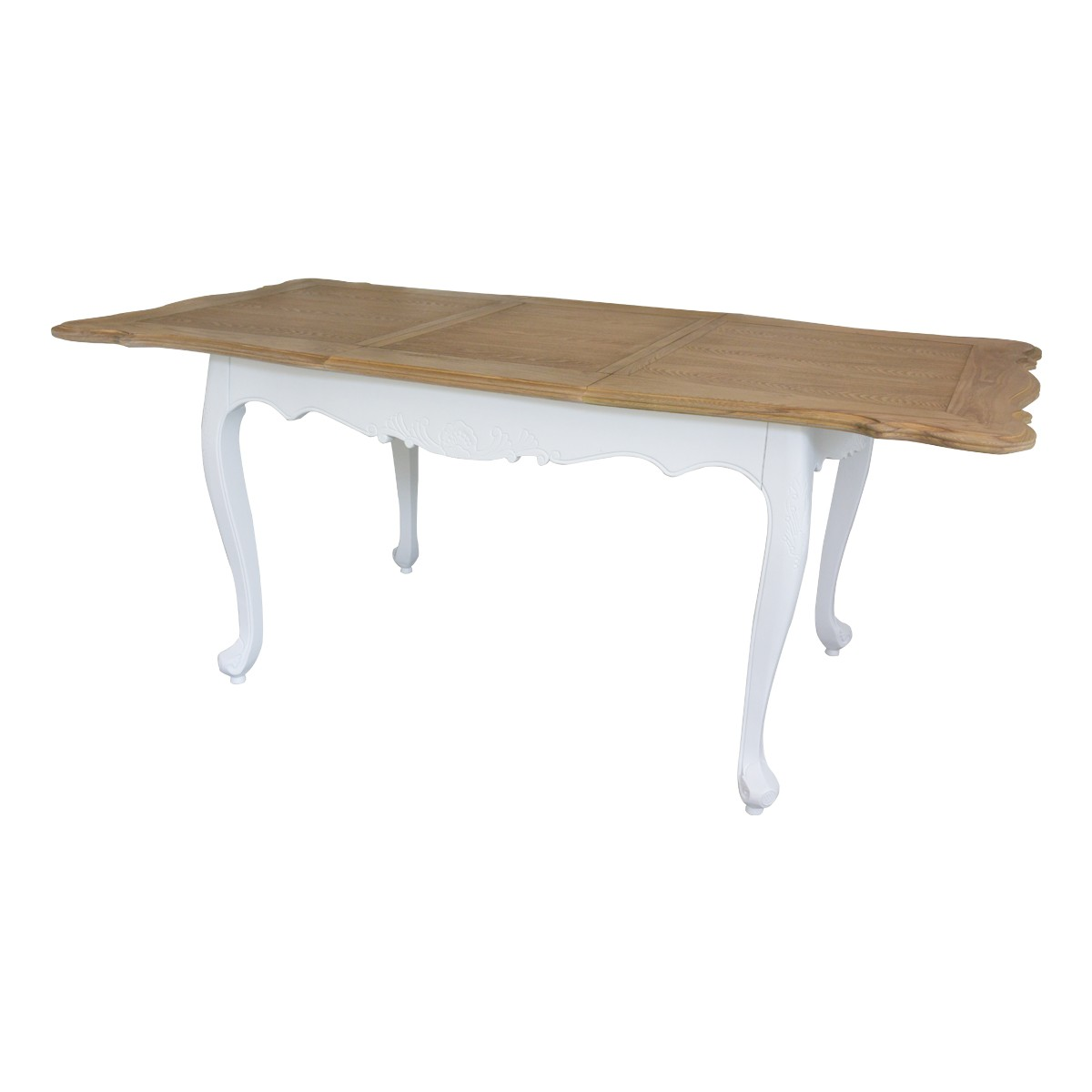 French Provincial Furniture White Extendable Dining Table