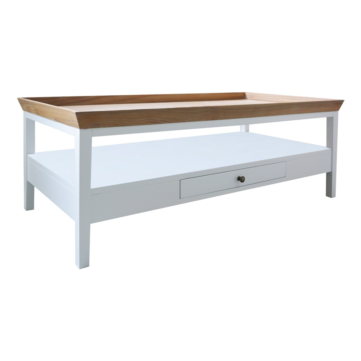 White Coffee Table Tray: Hamptons Halifax Furniture White Coffee Table With Natural