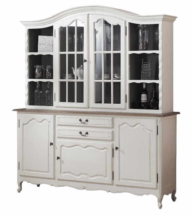 French Provincial Glass Display Buffet And Hutch Kitchen Dresser Cabinet Wholesales Direct