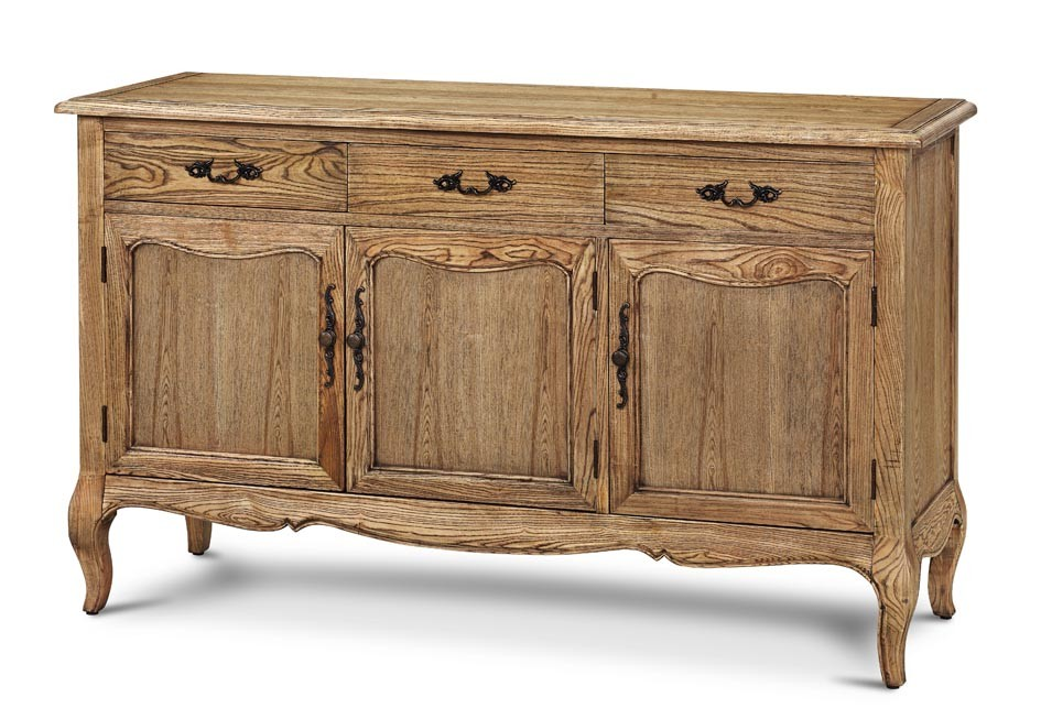 French Provincial Furniture Natural Oak Display Buffet