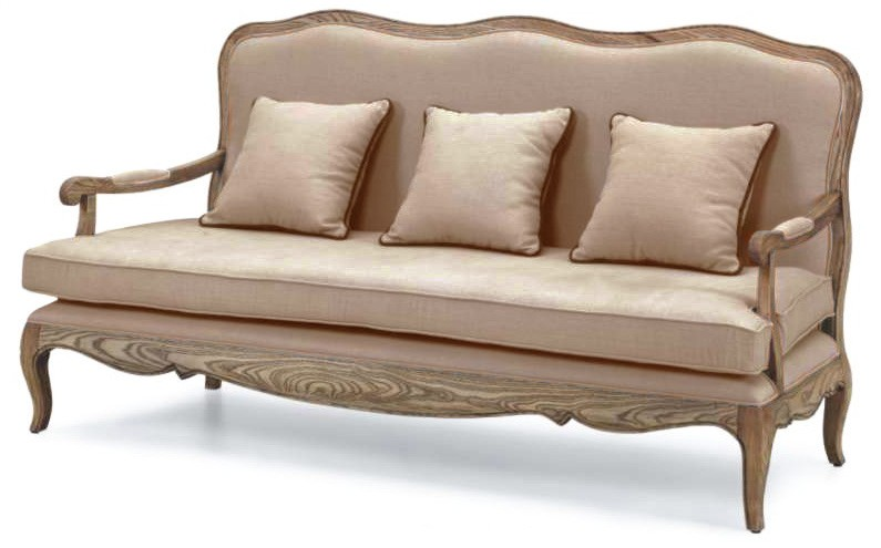 French Provincial Vintage Furniture 3 Seats Sofa With Arm In Natural