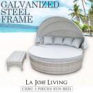Cebu PE Wicker Outdoor Canopy Round Day Bed Sun Lounger Rattan Furniture Set