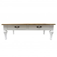 French Provincial Two Drawers Coffee Table with Natural Top