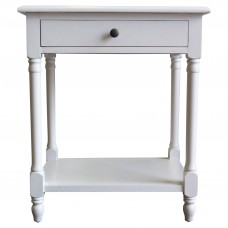 French Provincial Country Bedside Lamp Table Nightstand White - Front Side View