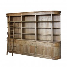French Provincial Natural Oak Buffet and Hutch Bookcase Sideboard Cabinet with Ladder