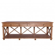Hamptons Halifax Furniture Cross Back 3 Drawers Entertainment TV Unit / Buffet Sideboard in Natural Oak