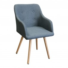 Upholstered Modern Fabric Dining Arm Chairs Grey Front