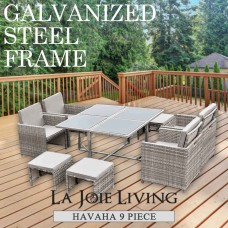 Havana 9 Piece 8 Seater Outdoor Dining Set Furniture Rattan Steel Frame Light Ash Brown