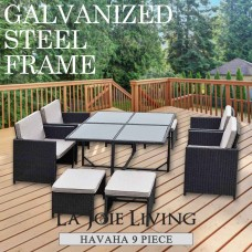 Havana 9 Piece 8 Seater Outdoor Dining Set Furniture Rattan Steel Frame Black