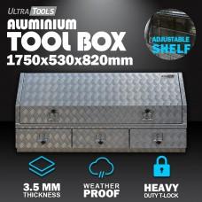 Aluminium Ute ToolBox2.5mm 1750x530x820mm 3 Drawers Side Opening Vehicle Storage