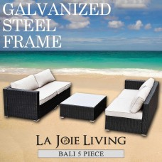 Bali 4 Seater Outdoor Sofa Modular 5 Piece Set Rattan Furniture Lounge Black