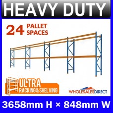 Pallet Racking 4 Bay System 3658mm High 24 Pallet Spaces