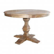 French Provincial OAK Extendable Round Pedestal Dining Table