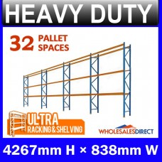 Pallet Racking 4 Bay System 4267mm High 32 Pallet Spaces
