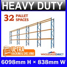 Pallet Racking 4 Bay System 6098mm High 32 Pallet Spaces