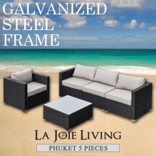 Phuket 5 Piece 4 Seater Outdoor Sofa Lounge Set Furniture Modular Rattan Steel Frame Black