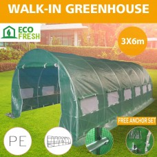 Greenhouse EcoFresh Walk in Greenhouses 6m x 3m x 2m Strong Galvanised Frame