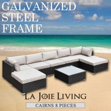 Cairns 7 Seater Outdoor Sofa Modular 8 Piece Set Rattan Furniture Lounge Black