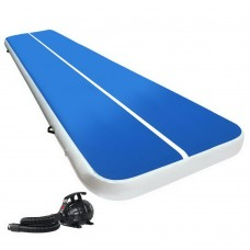 Everfit 6x2m Inflatable Air Track Mat 20cm Thick With Pump Tumbling Gymnastics Blue