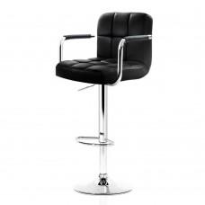 Artiss 2x Bar Stools Gas Lift Swivel Chairs Kitchen Armrest Leather Chrome Black