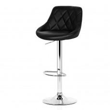 Artiss 2x Bar Stools Kitchen Gas Lift Swivel Chairs Leather Chrome Black