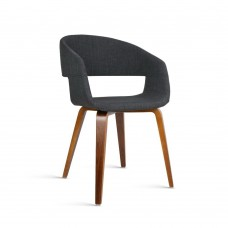 Set Of 2 Fabric Dining Chairs Charcoal