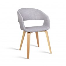 Set Of 2 Fabric Dining Chairs Charcoal Light Grey