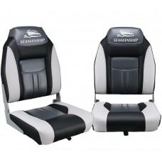 Set Of 2 Swivel Folding Boat Seats - Grey & Black