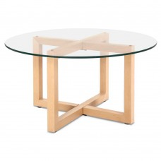 Artiss Tempered Glass Round Coffee Table - Beige