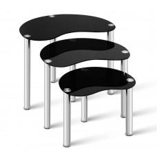 Artiss Set Of 3 Glass Coffee Tables - Black