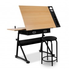 Tilt Drafting Table Stool Set - Natural & Black