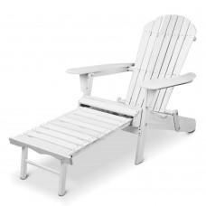 Gardeon Adirondack Beach Chair With Ottoman - White