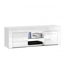 Artiss 130cm High Gloss Tv Stand Entertainment Unit Storage Cabinet Tempered Glass Shelf White