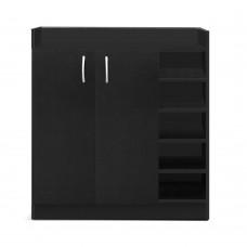 2 Doors Shoe Cabinet Storage Cupboard Black