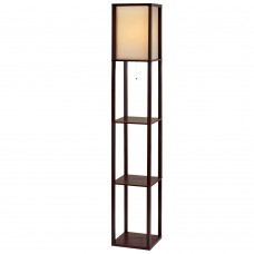 Artiss Floor Lamp Vintage Reding Light Stand Wood Shelf Storage Organizer Home