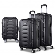 Wanderlite 3pcs Carry On Luggage Sets Suitcase Tsa Travel Hard Case Lightweight Black
