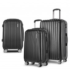 Wanderlite 3pc Luggage Sets Suitcases Set Travel Hard Case Lightweight Black