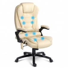 8 Point Massage Executive Pu Leather Office Chair Beige