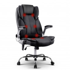 Pu Leather 8-point Massage Office Chair Black