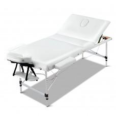 Zenses 70cm Wide Portable Aluminium Massage Table 3 Fold Treatment Beauty Therapy White