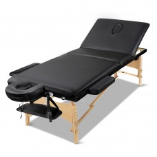 Zenses 60cm Wide Portable Wooden Massage Table 3 Fold Treatment Beauty Therapy Black