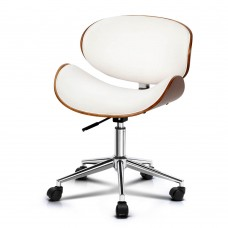 Pu Leather Curved Office Chair White